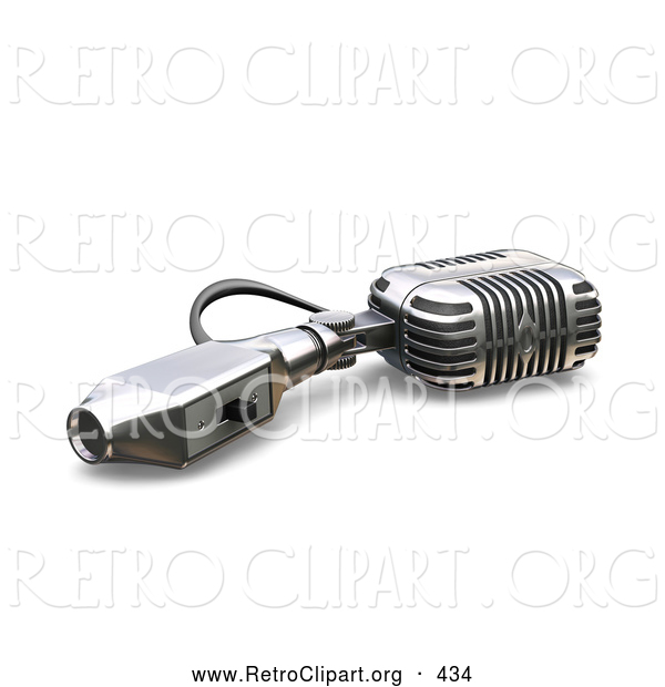 Retro Clipart of a Retro Microphone with a Switch, Tipped over on a White Background