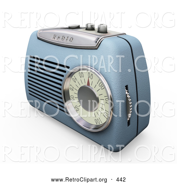 Retro Clipart of a Retro Old Fashioned Blue Radio with a Station Dial, on a White Surface