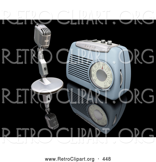Retro Clipart of a Retro Old Fashioned Microphone and Blue Radio on a Reflective Black Surface