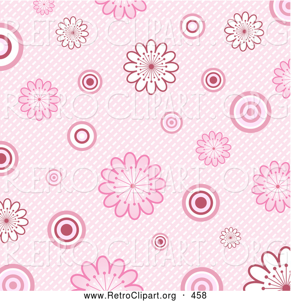 Retro Clipart of a Retro Old Fashioned Pink Background of White and Pink Flowers and Circles over a Weaved Texture