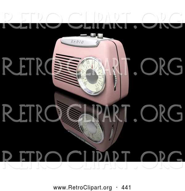 Retro Clipart of a Retro Old Fashioned Pink Radio with a Station Dial, on a Reflective Black Surface