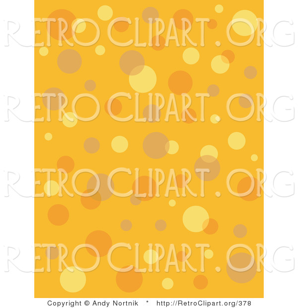 Retro Clipart of a Retro Orange and Yellow Background with Colorful Bubbles and Circles Clipart Illustration