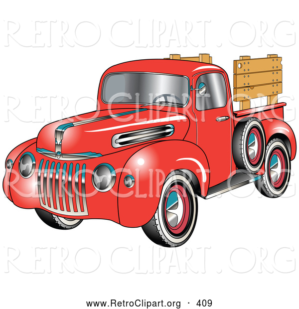 Retro Clipart of a Retro Red 1945 Ford Pickup Truck with a Spacfe Tire on the Side And, Chrome Accents, Red Wall Tires and Wooden Panels Along the Truck Bed