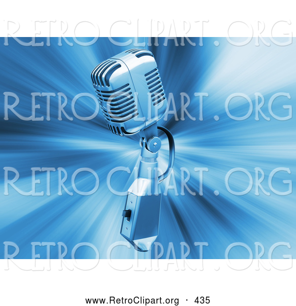 Retro Clipart of a Retro Silver Microphone over a Blue Bursting Background