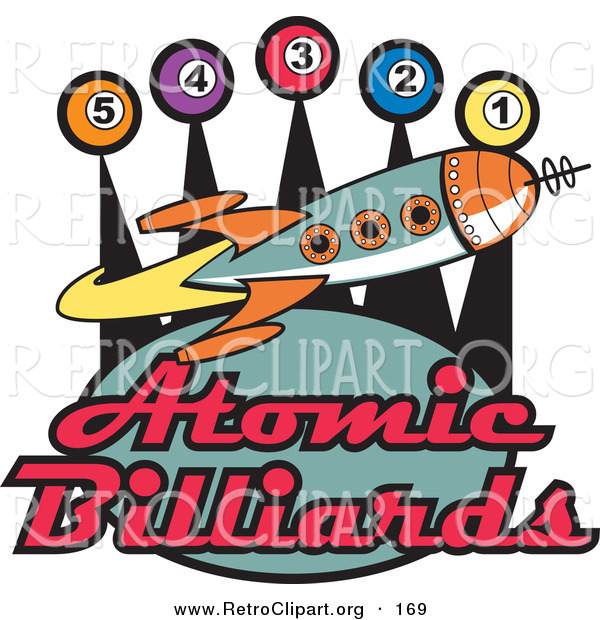Retro Clipart of a Retro Space Rocket Flying past Pool Balls on a Vintage Atomic Billiards Sign