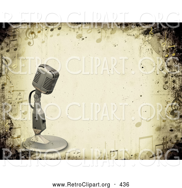 Retro Clipart of a Retro Vintage Microphone over a Grunge Background Bordered by Music Notes