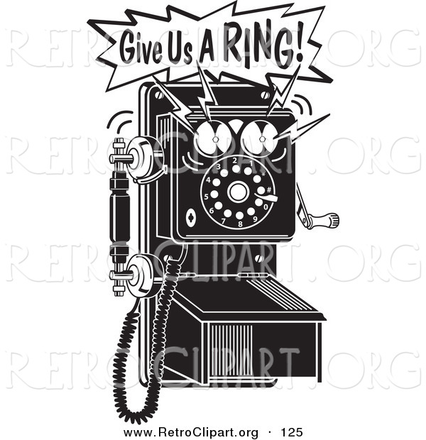 Retro Clipart of a Ringing Black and White Wall Telephone with Text
