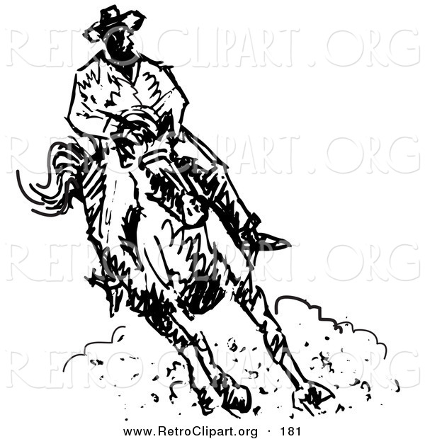Retro Clipart of a Roper Cowboy on a Horse, Kicking up a Cloud of Dust