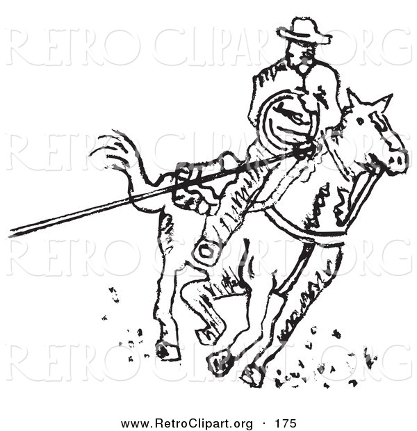 Retro Clipart of a Roper Cowboy on a Horse, Using a Lasso to Catch a Cow or Horse and Riding Right