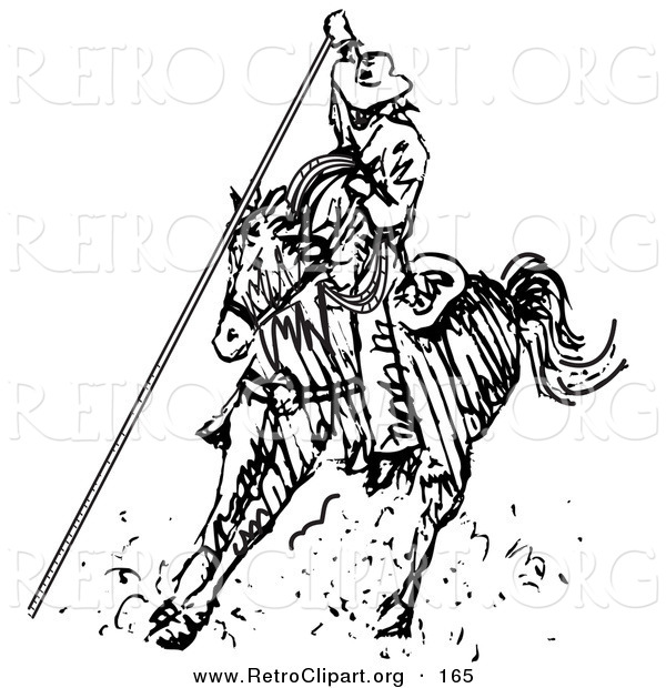 Retro Clipart of a Roper Cowboy on a Horse, Using a Lasso to Catch a Cow or Horse While Riding a Rodeo