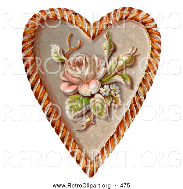 Retro Clipart of a Rose and Blossoms on a Heart, Circa 1890, on White