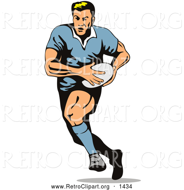 Retro Clipart of a Rugby Football Player Running