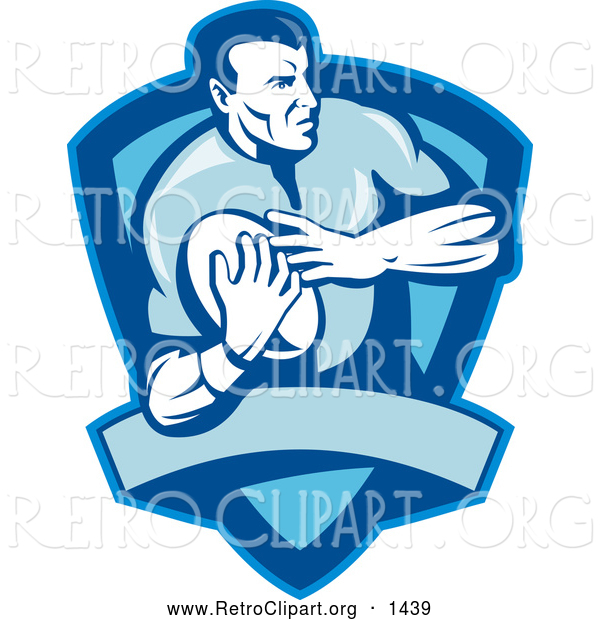 Retro Clipart of a Rugby Football Player Shield in Blue