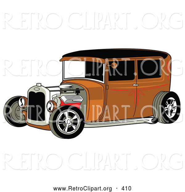 Retro Clipart of a Rust Brown Vintage Rat Rod Car with a Black Roof, Red Accents and Chrome Wheels on White
