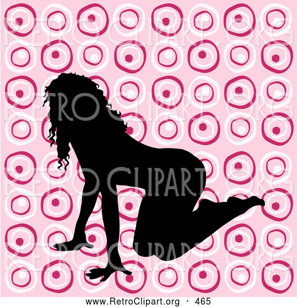 Retro Clipart of a Sexy Black Silhouetted Female Crawling on a Pink Retro Circle Background