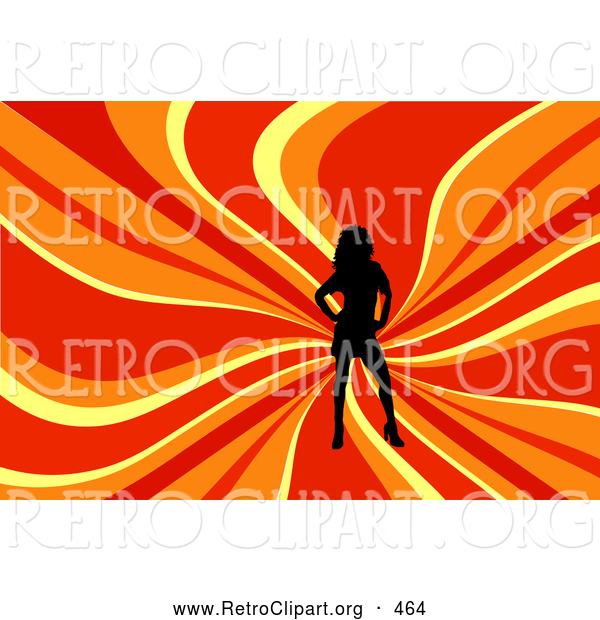 Retro Clipart of a Sexy Black Silhouetted Woman Posing over a Wavy Red, Orange and Yellow Background
