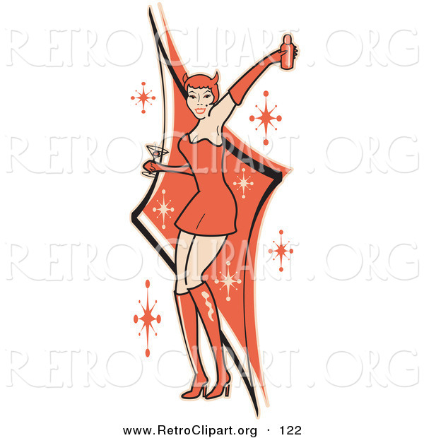 Retro Clipart of a Sexy Woman in a Tight Red Dress, Gloves and Tall Boots and Forked Devil Tail, Dancing While Drinking at a Party