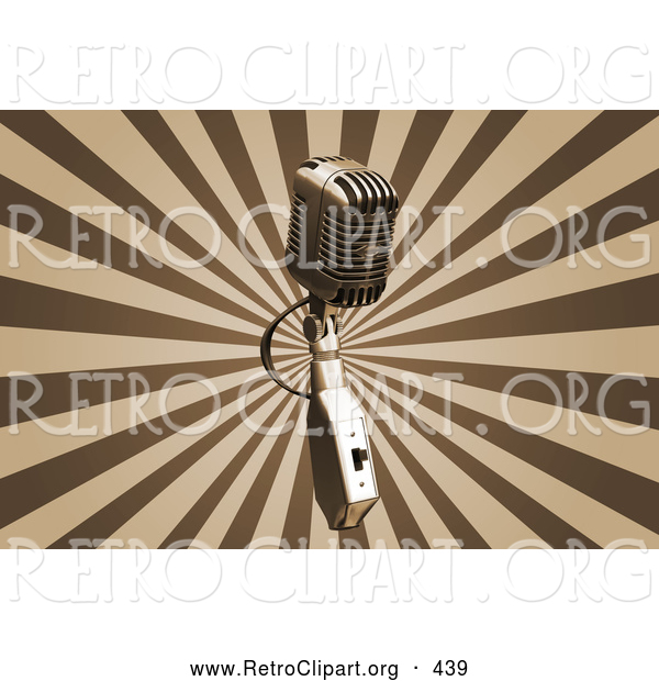 Retro Clipart of a Silver Vintage Microphone over a Bursting Brown and Tan Background