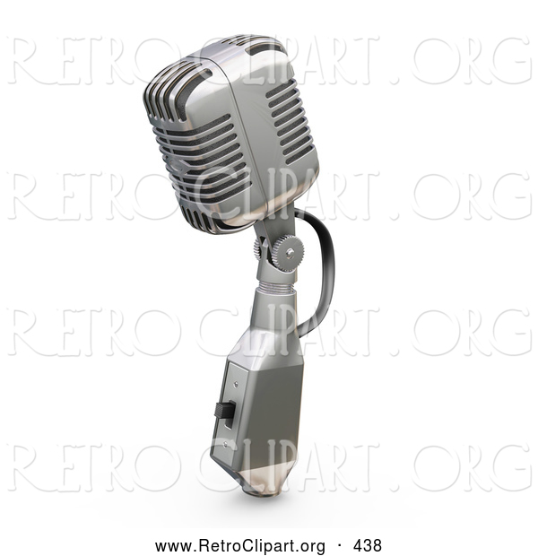 Retro Clipart of a Silver Vintage Microphone with a Switch, on a White Background