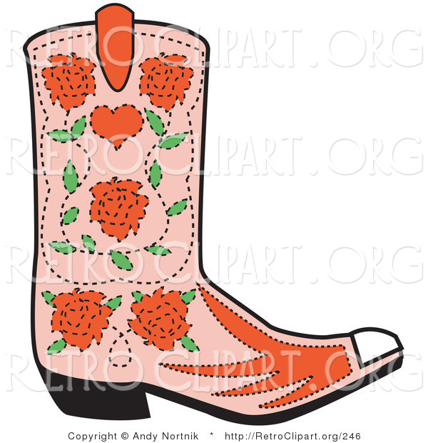 Retro Clipart of a Single Pink Cowgirl Boot with a Pattern of Red Roses