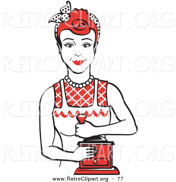 Retro Clipart of a Smiling Red Haired Housewife or Maid Woman Facing Front and Smiling While Using a Manual Coffee Grinder