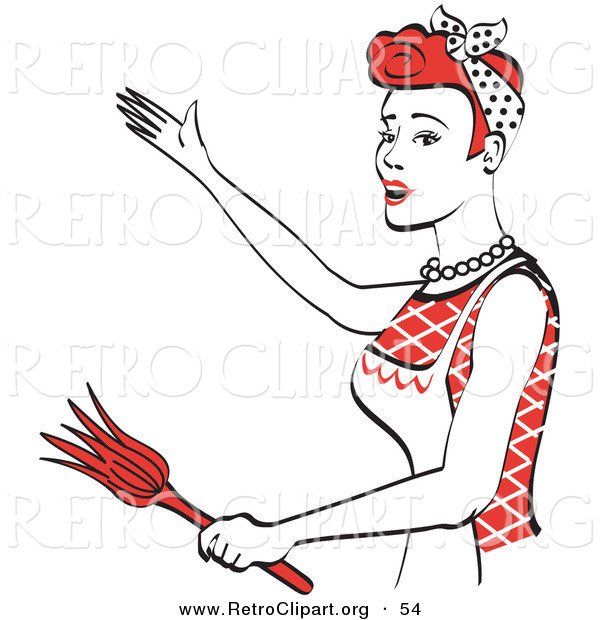 Retro Clipart of a Smiling Red Haired Housewife or Maid Woman Wearing an Apron While Singing and Dancing and Using a Feather Duster
