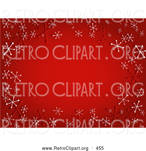 Retro Clipart of a Sparkly Gradient Red Background with Red and White Retro Snowflakes