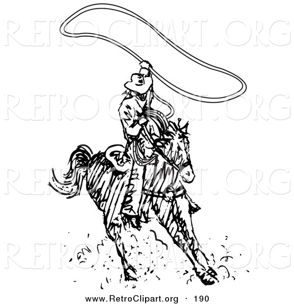 Retro Clipart of a Sporty Roper Cowboy on a Horse, Using a Lasso to Catch a Cow or Horse