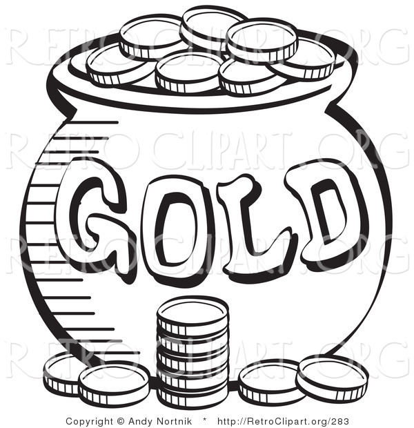 Retro Clipart of a Stack of Coins near a Cauldron of Leprechaun's Gold, Black and White