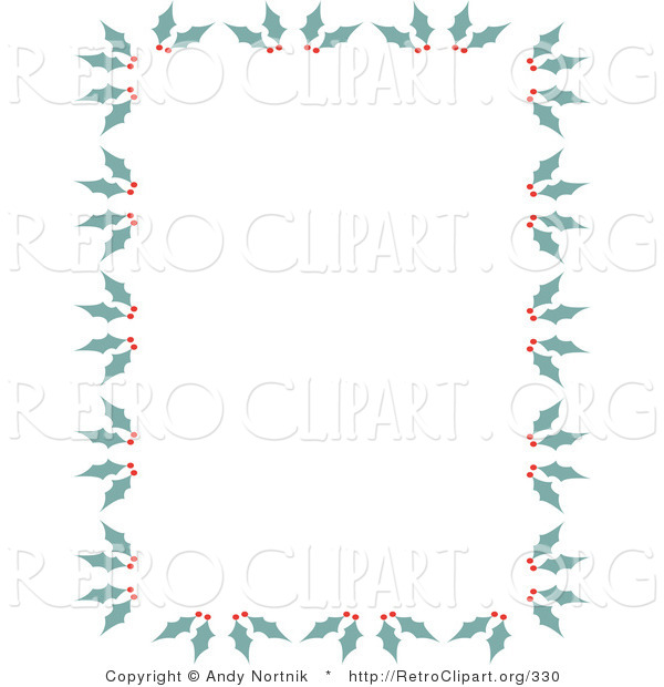Retro Clipart of a Stationery Border of Holly and Berries for Christmas
