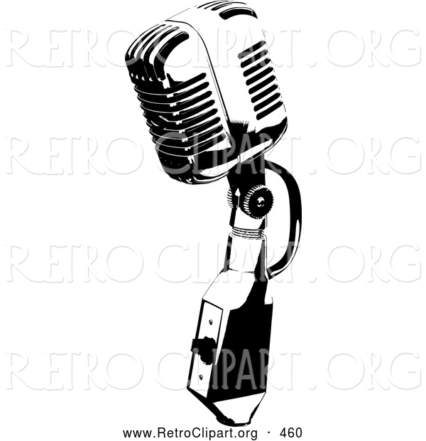Retro Clipart of a Vintage Black and White Microphone Speaker, on White