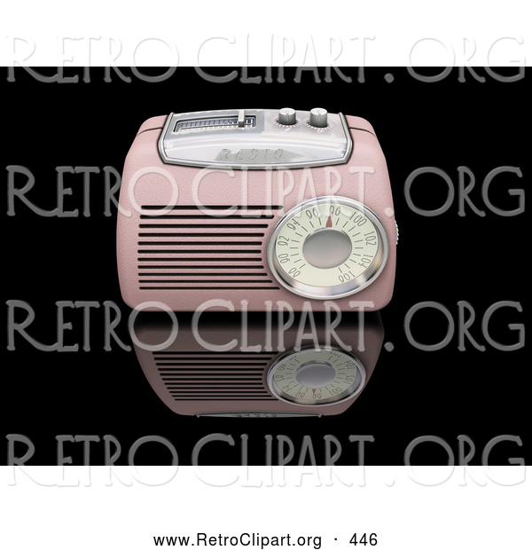 Retro Clipart of a Vintage Old Fashioned Pink Radio with a Station Tuner, on a Reflective Black Surface
