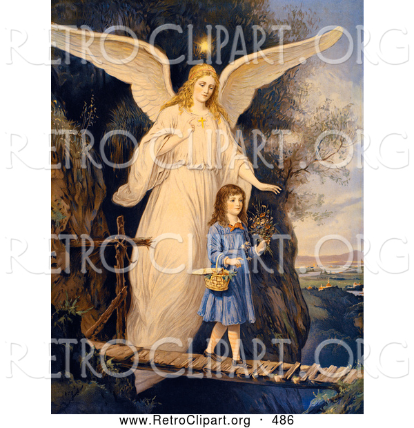 Retro Clipart of a Vintage Painting of a Female Guardian Angel Protecting a Little Girl As She Crosses a Gorge on a Narrow Bridge, Carrying a Basket and Flowers, Circa 1890