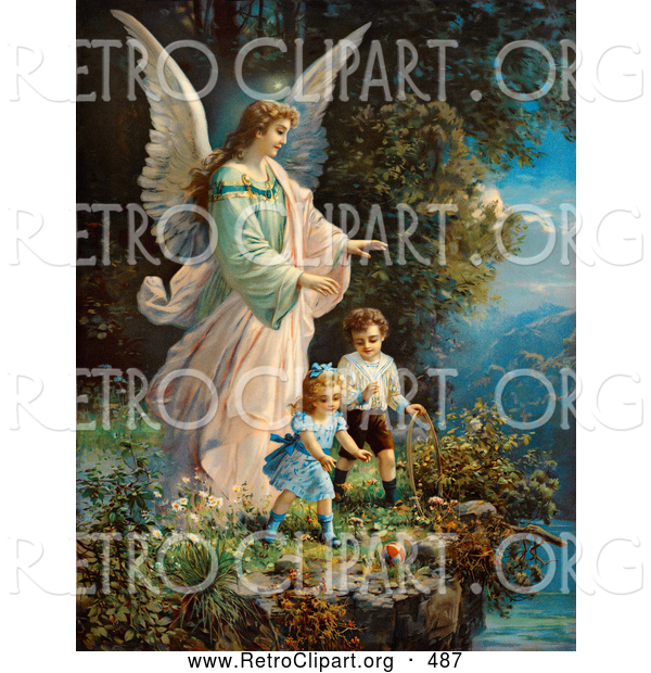 Retro Clipart of a Vintage Painting of a Guardian Angel Looking over Children near a Cliff, Circa 1890