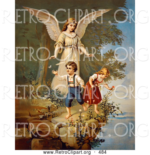 Retro Clipart of a Vintage Painting of a Guardian Angel Protecting Two Children Teetering on a Cliff, Circa 1890
