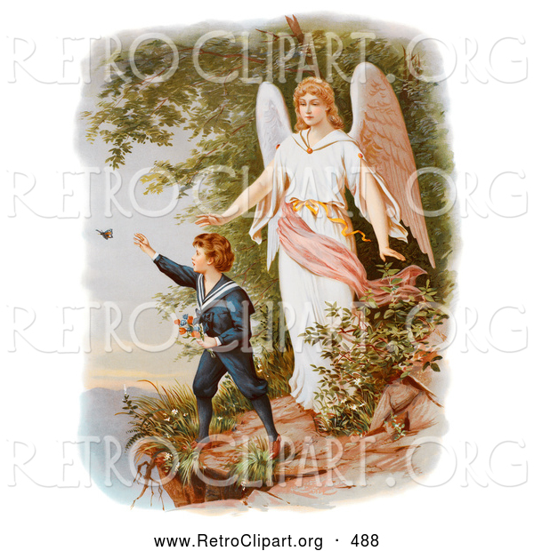 Retro Clipart of a Vintage Painting of a Guardian Angel Watching over a Child Playing near a Cliff, Circa 1890