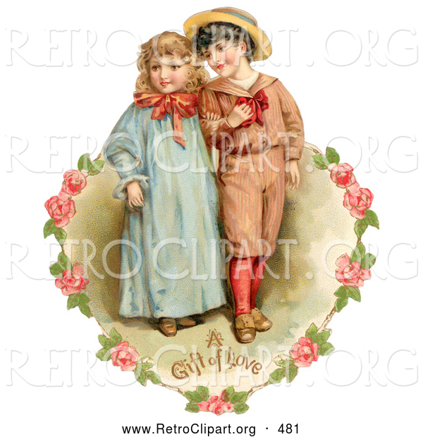 Retro Clipart of a Vintage Painting of a Sweet Little Boy and Girl Strolling Arm in Arm, Looking off to the Side, Circled by a Heart of Pink Roses Circa 1886