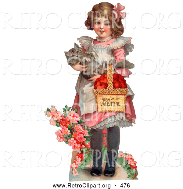 Retro Clipart of a Vintage Painting of a Sweet Little Girl Carrying a Basket of Red Hearts and a Cat in Her Arms, Walking in a Flower Garden, Circa 1885