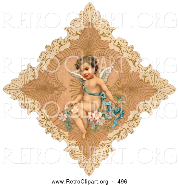 Retro Clipart of a Vintage Painting of an Angel in a Delicate Diamond