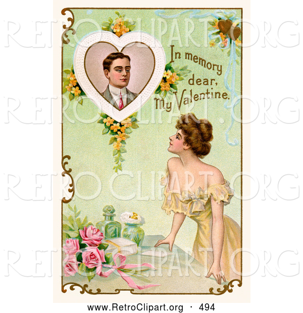 "Retro Clipart of a Vintage Poster of a Deceased Man with Text Reading ""In Memory Dear, My Valentine"" Circa 1910"