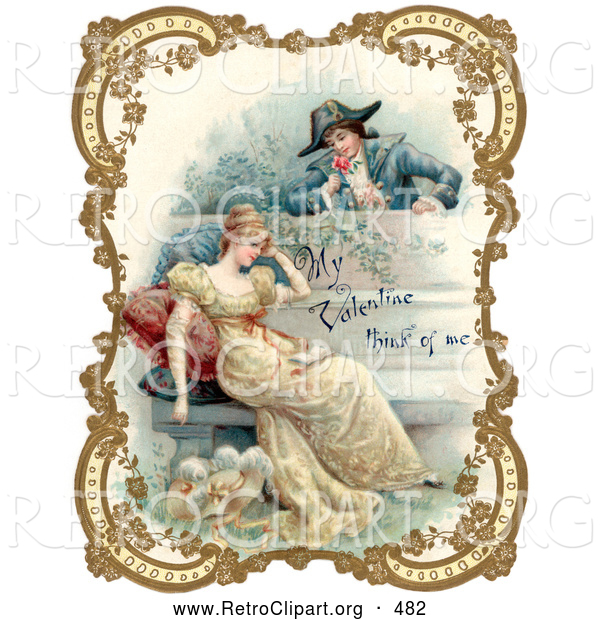 Retro Clipart of a Vintage Valentine of a Man Holding a Flower and Looking over a Patio Wall, Admiring a Young Lady, Bordered by Golden Flowers, Circa 18th Century