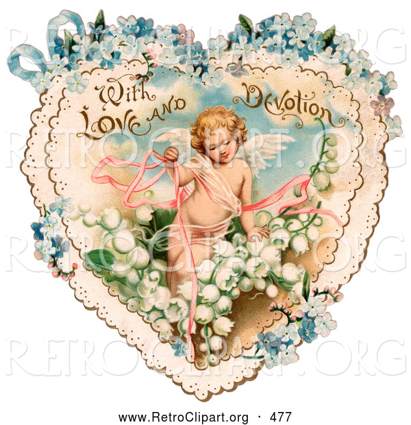 Retro Clipart of a Vintage Valentine Painting of Cupid with Ribbons, Prancing in White Lily of the Valley Flowers on a Lacy Heart with Forget Me Not Flowers, Circa 1890