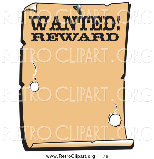 Retro Clipart of a Vintage Wanted Styled Sign Western Background
