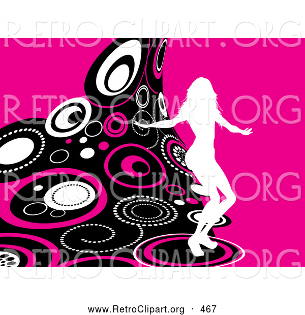 Retro Clipart of a White Silhouetted Woman Party Dancing on a Wave of Retro Pink, Black and White Circles over a Pink Background