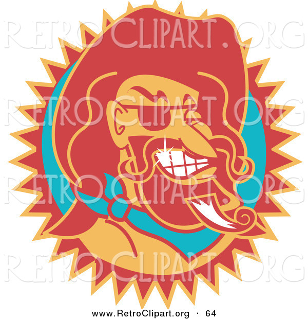 Retro Clipart of a Wild Bill Hickock Smiling and Wearing a Cowboy Hat on White
