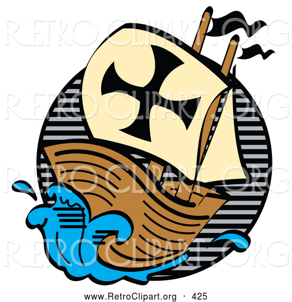 Retro Clipart of a Wood Ship, the Mayflower, Carrying Pilgrims on the Sea