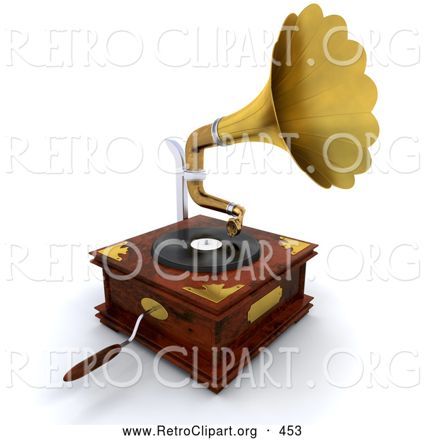 Retro Clipart of a Wooden Gramophone with a Handle and Golden Horn Playing Music from a Record, on White