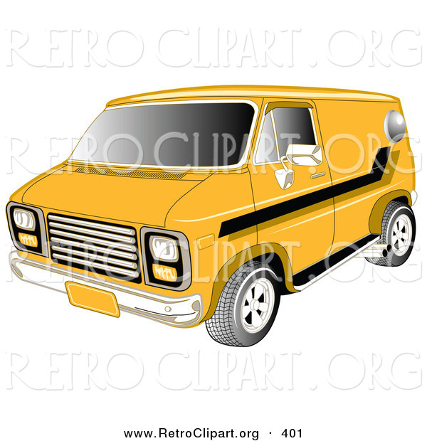 Retro Clipart of a Yellow 1979 Chevy Van with Tinted Windows and Black Striping on the Side Driving to the Left