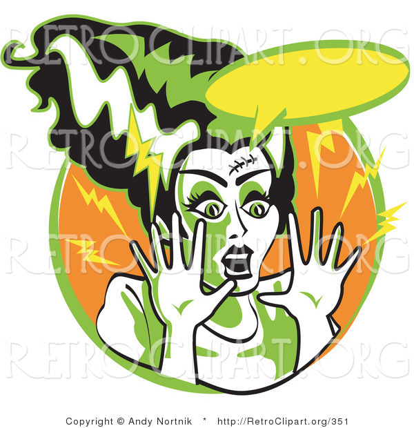 Retro Clipart of an Afraid Bride of Frankenstein Screaming