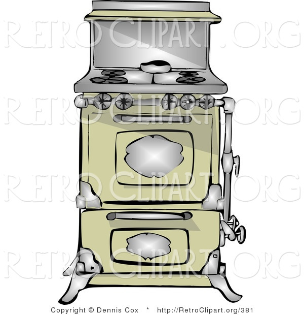 Retro Clipart of an Antique Retro Kitchen Range and Oven